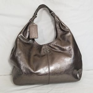 Coach Julia Gunmetal Metallic Silver Hobo Bag